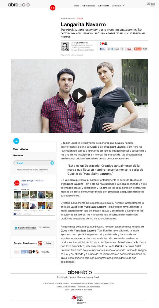 Abre el Ojo Web, artículo
